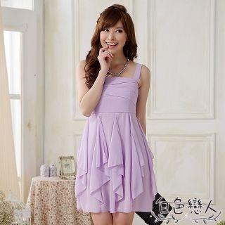 【白色戀人中大尺碼】紫色吊帶雪紡不規則連衣裙JK-0822
