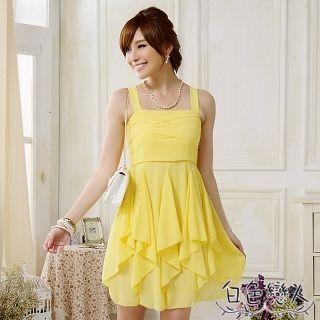 【白色戀人中大尺碼】黃色吊帶雪紡不規則連衣裙JK-0822