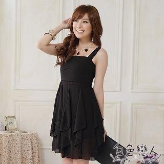 【白色戀人中大尺碼】黑色吊帶雪紡不規則連衣裙JK-0822