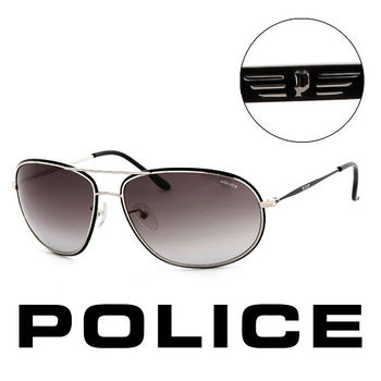 Police 時尚銀框造型太陽眼鏡(銀) POS86370K07