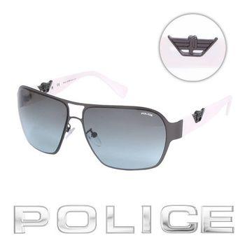 POLICE 飛行員太陽眼鏡 (銀黑色) POS8753-0627