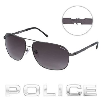POLICE 飛行員太陽眼鏡 (銀黑色) POS8747-0584