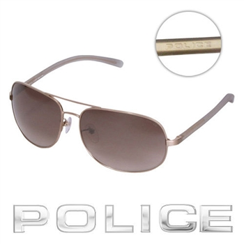 POLICE 飛行員太陽眼鏡 (復古金) POS8698-383X