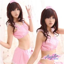 粉紅魔力 甜東森購物電子優惠券心格紋女僕裝角色服 五件組GA8073