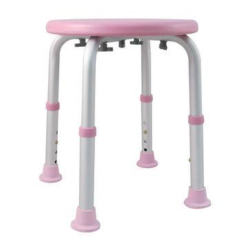 【舞動創意】輕量化鋁質可昇降浴室防滑洗澡椅(粉)