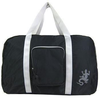 agnes b. 蜥蜴輕量質銀邊雙槓旅行袋附小袋(黑)-破