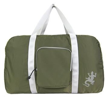 agnes b. 蜥蜴輕量質銀邊雙槓旅行袋附小袋(墨綠)-破