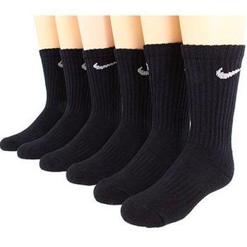 Nike 學生運動款黑色中統襪子6入組