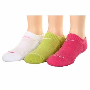 Nike 學生無外秀白綠桃紅混搭短襪3入組