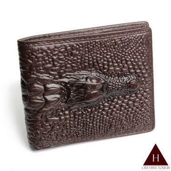 【H-CT】立體鱷魚設計真皮短夾(SA494-3603-Z)