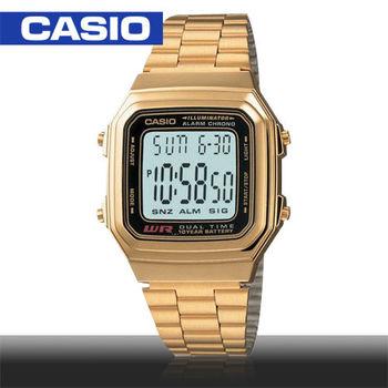 CASIO 卡西歐_金色復古風電子錶_A-178WGA