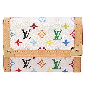 LV M92657 村上隆Multicolore暗釦零錢包(白彩)
