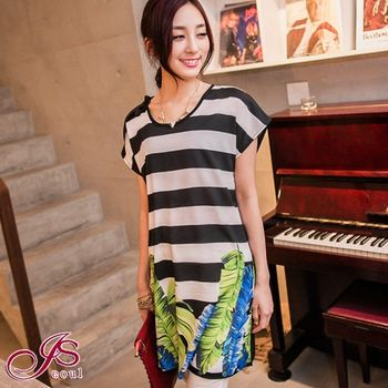 【I-Seoul正韓中大碼】經典條紋綁結長版上衣(可當短洋裝)黑色