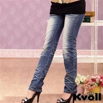 【KVOLL中大尺碼】藍色無彈洗水設計款牛仔長褲SL-6254