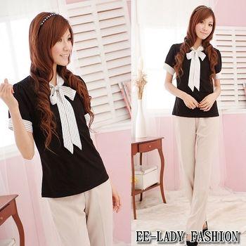 【EE-LADY】V領綁帶袖口條紋短袖上衣-黑(34-36)