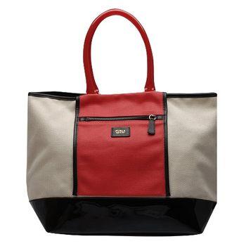 FURLA 經典漆皮拼色塑膠提把手提包(米X紅X黑)1716S7