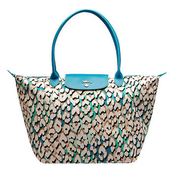 LONGCHAMP豹紋棉質帆布長把手提包-中-湖水藍1899579