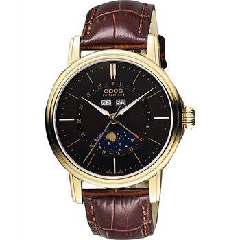 epos 月相盈虧 Day-Date 經典機械腕錶-咖啡x金框