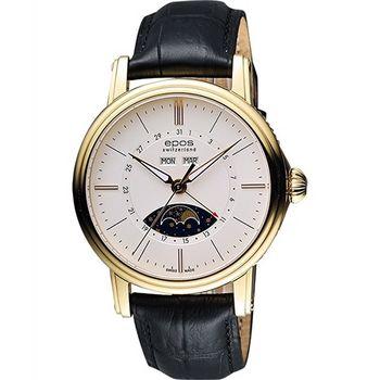 epos 月相盈虧 Day-Date 經典機械腕錶-銀x金框