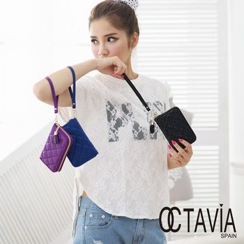 【Octavia 8 真皮】小流蘇菱格手提短夾