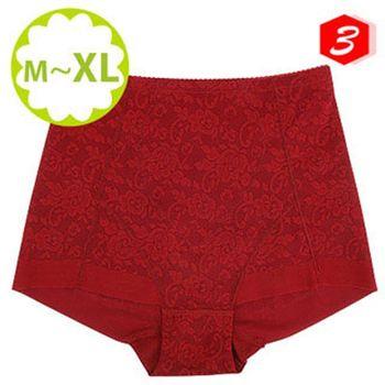 (蓓氏嘉)彈力無痕平口束褲-紅色三件組 NO.751(M)