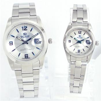 VGASY 藍鋼字水晶玻璃不銹鋼錶
