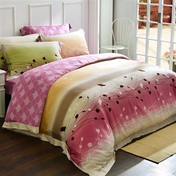 【義大利La Belle】幸福愛戀天絲雙人四件式舖棉兩用被床包