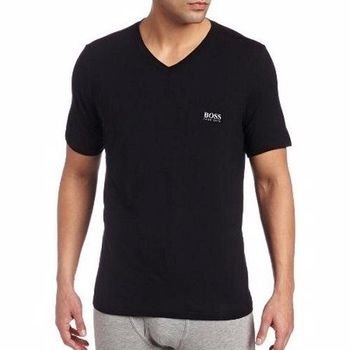 【HUGO BOSS】2014男時尚LOGO標誌黑色V領短袖T恤