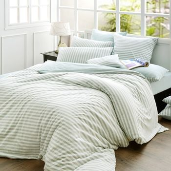 【La Belle】斯卡線曲 薄荷綠色坊針織 雙人四件式床包被套組
