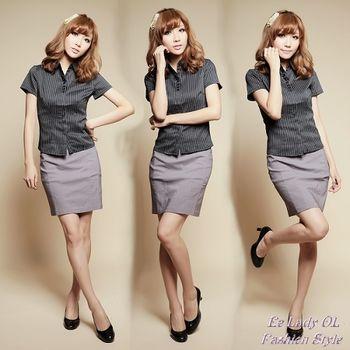 【EE-LADY】條紋多扣短袖襯衫-黑(34-42)