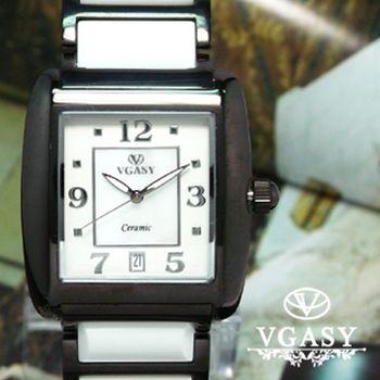 VGASY方型 雅緻白陶瓷錶