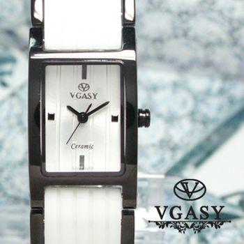 VGASY方型 典雅白陶瓷女錶