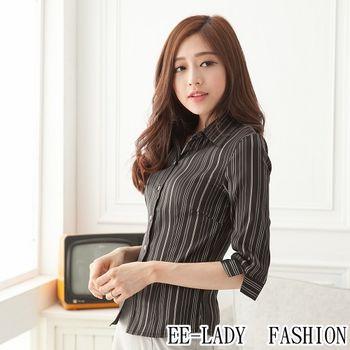 【EE-LADY】七分袖襯衫-黑(34~42)