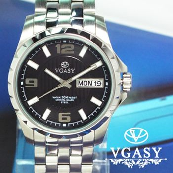 VGASY 豪邁時尚不銹鋼白鐵錶