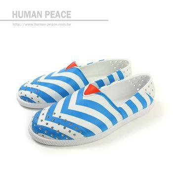 native VERONA海洋風洞洞鞋休閒鞋白/藍男女no186