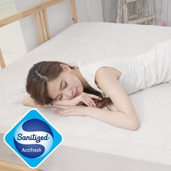 【Sanitized】防蟎抗菌床包式竹炭保潔墊-雙人