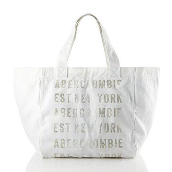 A&F 燙金字母LOGO手提托特包 (白)