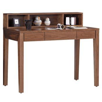 【品居家】雅典3.6尺胡桃三抽書桌