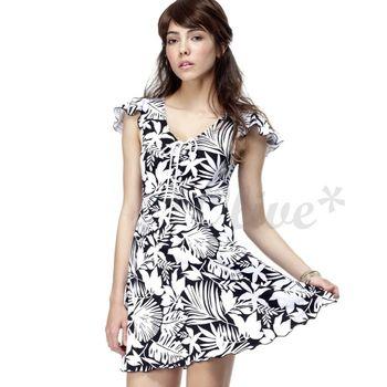 【聖手品牌】 時尚花朵圖騰短袖連身裙泳裝-A98420