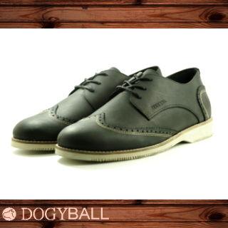 【DOGYBALL】Austin 真皮雕花休閒皮鞋(黑色)