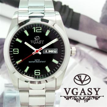 VGASY 夜光刻度不銹鋼水晶鏡片腕錶