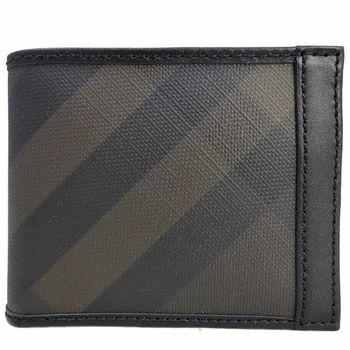 Burberry 經典格紋皮革拼接對折短夾(黑x咖啡)