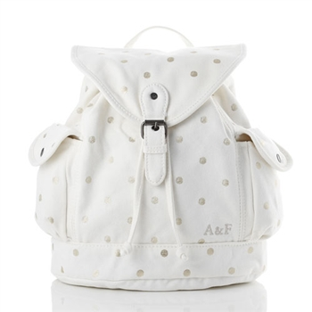 A&F 燙金水玉點點厚實棉質後背包 (白)