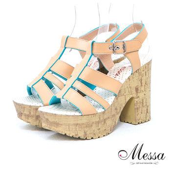 【Messa米莎】(MIT) 打造復古寬帶繞踝粗跟厚底涼鞋-米色