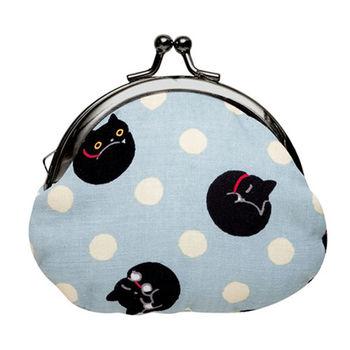 【SAN-X】小襪貓貓咪黑圓點系列棉布珠扣零錢包 藍