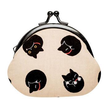 【SAN-X】小襪貓貓咪黑圓點系列棉布珠扣零錢包 米