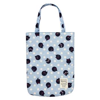 【SAN-X】小襪貓貓咪黑圓點系列棉布手提袋 藍