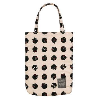 【SAN-X】小襪貓貓咪黑圓點系列棉布手提袋 米