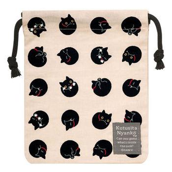 【SAN-X】小襪貓貓咪黑圓點系列棉布束口袋 米