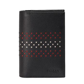 BALLY VIANSON經典簍空紅白條紋小牛皮萬用卡夾/短夾(黑)6184554001-BLK